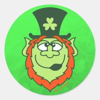 St Paddy's Day Drunk Leprechaun Round Sticker