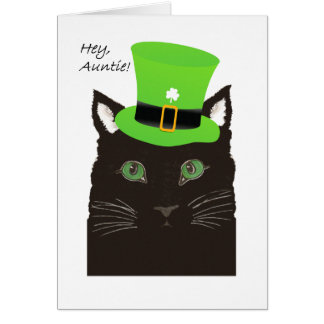 St Paddy's Day, for Auntie, Aunt, Cat wears Hat Card