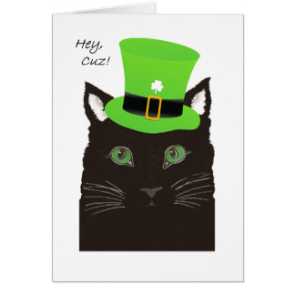 St Paddy's Day, for Cousin, Cuz, Cat wears Hat Card