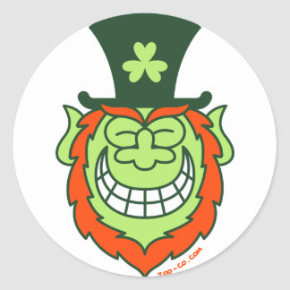 St Paddy's Day Leprechaun Grinning from Ear to Ear Round Sticker