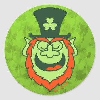 St Paddy's Day Leprechaun Promoting Party Round Sticker