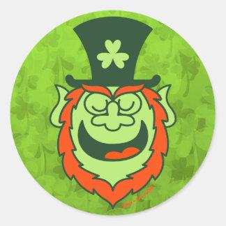 St Paddy's Day Leprechaun Promoting Party Round Sticker