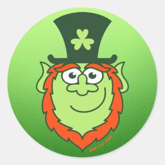 St Paddy's Day Leprechaun Smiling Round Sticker