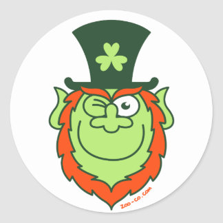 St Paddy's Day Leprechaun Winking and Smiling Round Sticker