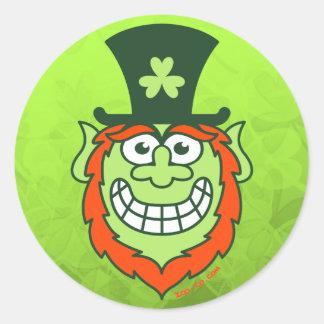 St Paddy's Day Naughty Leprechaun Round Sticker