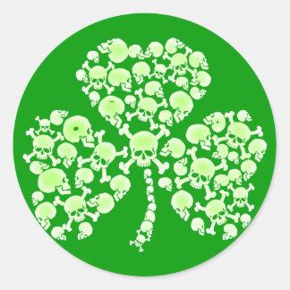 St Paddy's Day Shamrock Skulls Round Sticker