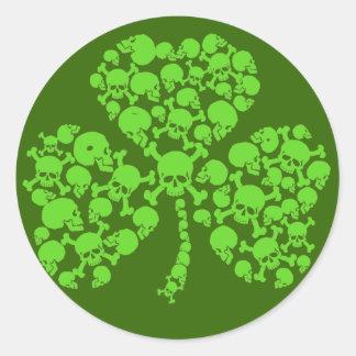 St Paddy's Day Skulls Shamrock Round Sticker
