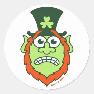 St Paddy's Day Stressed Leprechaun Round Sticker