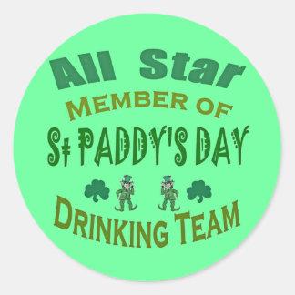 st paddys drinking team round stickers