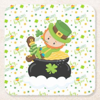 St Paddy's Leprechaun Square Paper Coaster