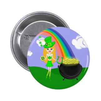 St Pat s Day Blonde Girl Leprechaun with Rainbow Pins