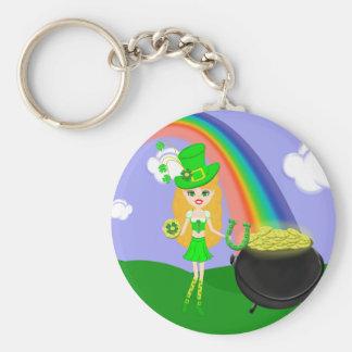 St Pat s Day Blonde Girl Leprechaun with Rainbow Key Chain