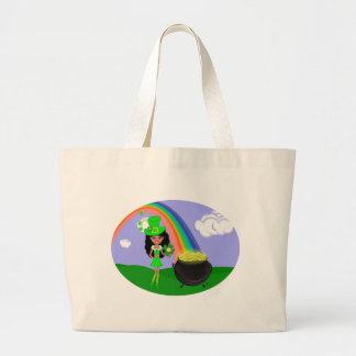 St Pat s Day Brunette Girl Leprechaun with Rainbow Tote Bags