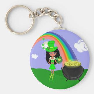 St Pat s Day Brunette Girl Leprechaun with Rainbow Keychains