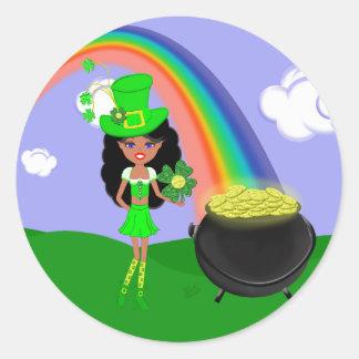 St Pat s Day Brunette Girl Leprechaun with Rainbow Sticker