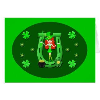 St Pat s Day Redhead Girl Leprechaun Greeting Card