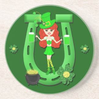St Pat s Day Redhead Girl Leprechaun Coasters