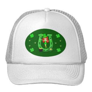 St Pat s Day Redhead Girl Leprechaun Trucker Hat