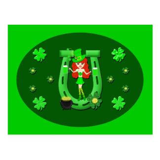 St Pat s Day Redhead Girl Leprechaun Post Cards