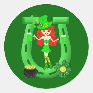 St Pat s Day Redhead Girl Leprechaun Round Sticker