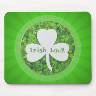 ST PATRIC+S DAY , IRISH LUCK, SHAMROCK LOGO MOUSE PAD