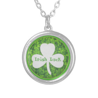 ST PATRIC+S DAY , IRISH LUCK, SHAMROCK LOGO SILVER PLATED NECKLACE
