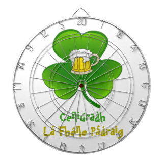 ST PATRIC+S DAY SHAMROCK +  BEER DARTBOARD