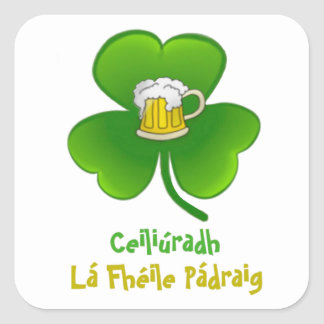 ST PATRIC+S DAY SHAMROCK +  BEER SQUARE STICKER
