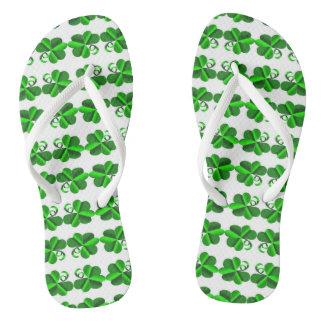 St Patrick Day. Clover shamrock. Thongs
