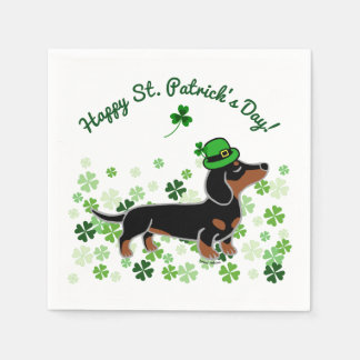 St. Patrick Day Dachshund Cartoon 5 Disposable Napkins