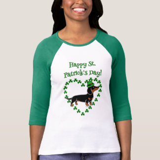 St. Patrick Day Dachshund Cartoon Posing T-Shirt