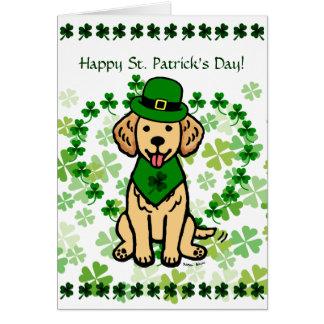 St. Patrick Day Golden Retriever Cartoon Card