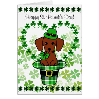 St. Patrick Day Red Smooth Dachshund Hat Card