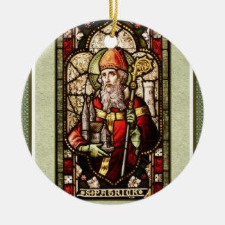St. Patrick Digital Art Round Ceramic Ornament