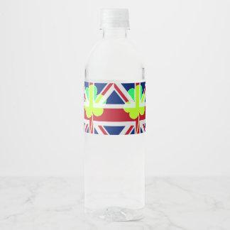 St Patrick Flag Irish Shamrock Union Jack Funny Water Bottle Label