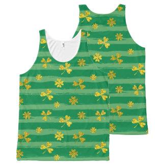 St Patrick Golden shamrock green stripes pattern All-Over Print Singlet