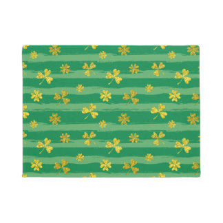 St Patrick Golden shamrock green stripes pattern Doormat