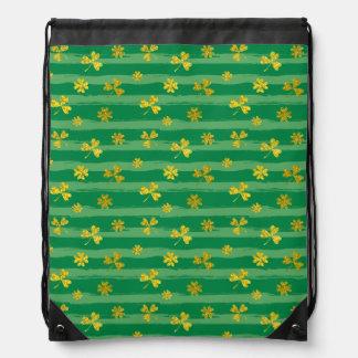 St Patrick Golden shamrock green stripes pattern Drawstring Bag
