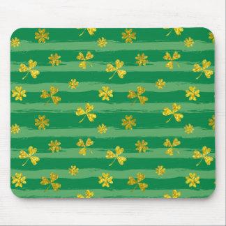 St Patrick Golden shamrock green stripes pattern Mouse Pad