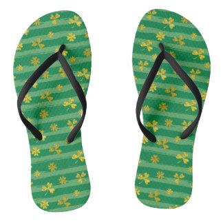 St Patrick Golden shamrock green stripes pattern Thongs