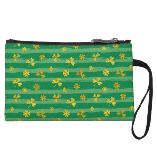 St Patrick Golden shamrock green stripes pattern Wristlet