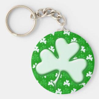 St Patrick Ireland Shamrock Pattern Design Basic Round Button Key Ring
