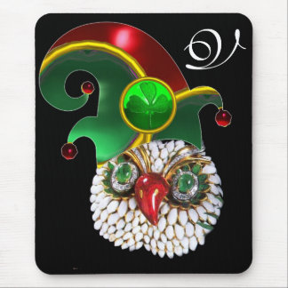 ST PATRICK JEWEL OWL,ELF HAT AND SHAMROCK MONOGRAM MOUSE PAD