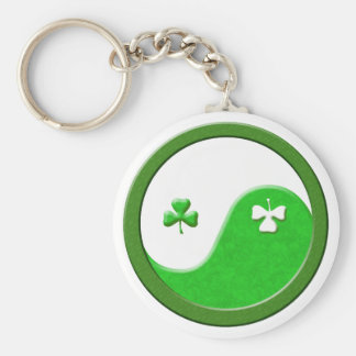 St Patrick Meets Taoism Basic Round Button Key Ring