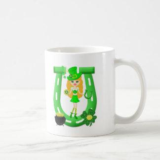 St Patrick's Day Blonde Girl Leprechaun Classic White Coffee Mug