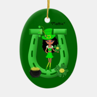 St Patrick's Day Brunette Girl Leprechaun Ceramic Oval Decoration