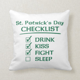 St Patrick s Day Checklist Drink Kiss Fight Pillow