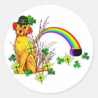 St Patrick s Day Dog Round Sticker