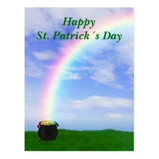 St. Patrick´s Day Gold Pot with Rainbow - Postcard