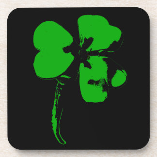 St. Patrick's Day Green Clover - Plastic Coasters